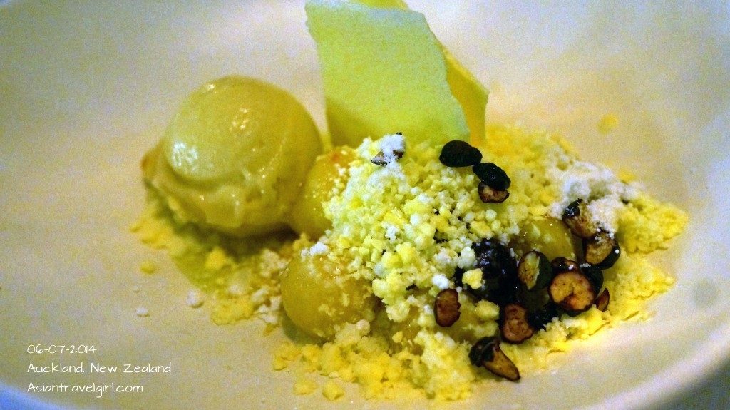 """The Dessert"" Buttermilk Granita- feijoa, apple cream blueberries, elderflower, meringue"