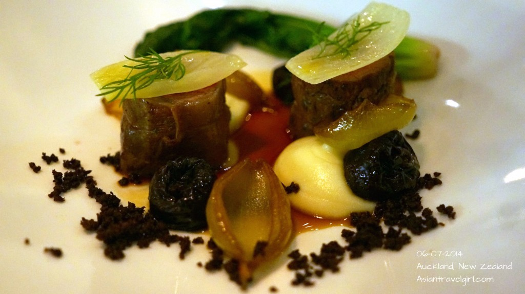 """The Main"" Boneless Lamb- cauliflower cream, prunes, onions,fennel, black olives @ The French Cafe"