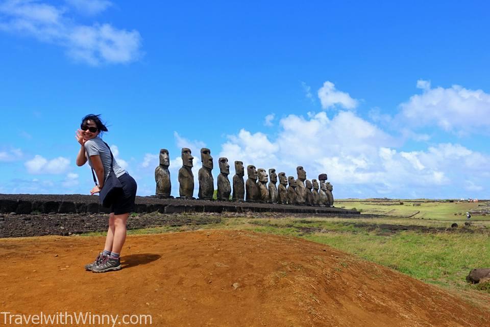 觀光客最愛的一排摩艾石像 Ahu Tongariki