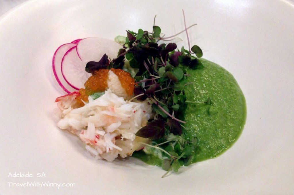 Alaskan King crab Salad with avocado, Gazpacho and crème Fratche