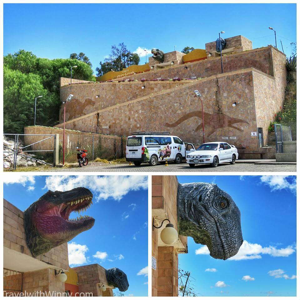 Entrance to Parque Cretácico, The Dinosaur park. Dinosaur footprint.s