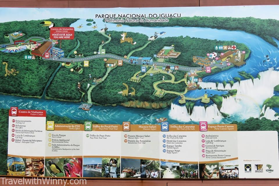 伊瓜蘇瀑布 igauzu fall experience 巴西 brazil Iguazu falls National Park Map