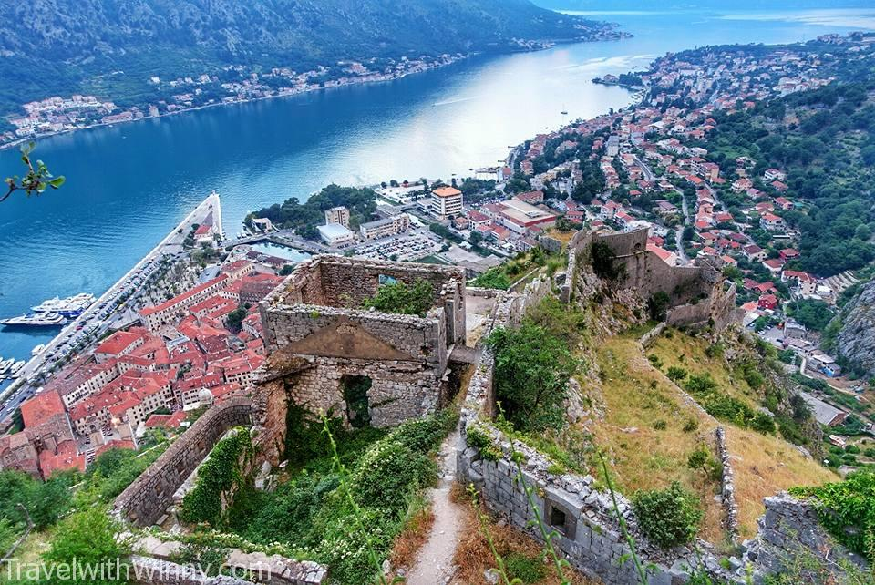 Kotor fotress wall and the Bay of Kotor