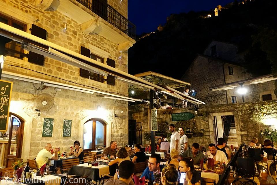 Kotor old town at night.