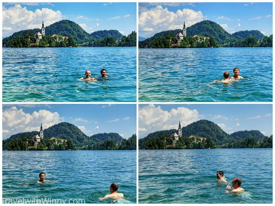 swimming in lake 湖中游泳