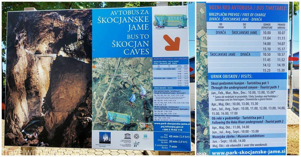Skocjan Caves bus timetable