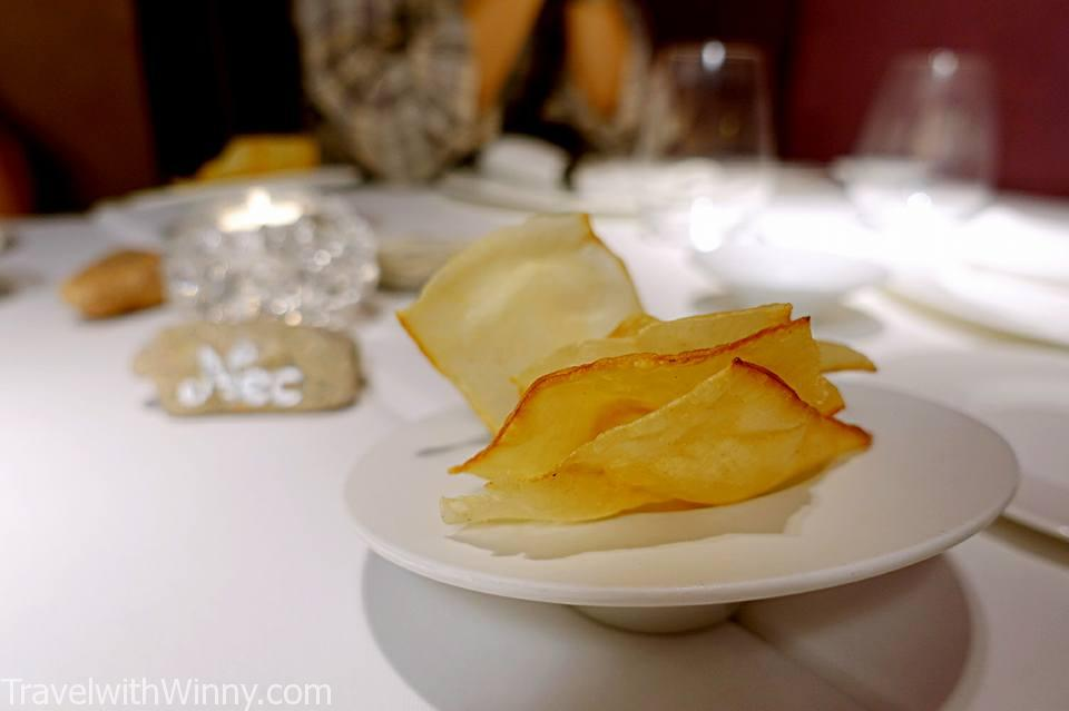potato chip 洋芋片 Nectari Restaurant, Barcelona Michelin