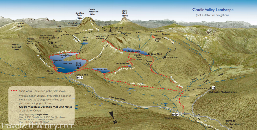 搖籃山 地圖 cradle mountain map