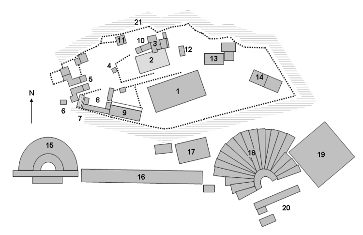 Site plan of the Acropolis at Athens showing the major archaeological remains from Wikipedia.