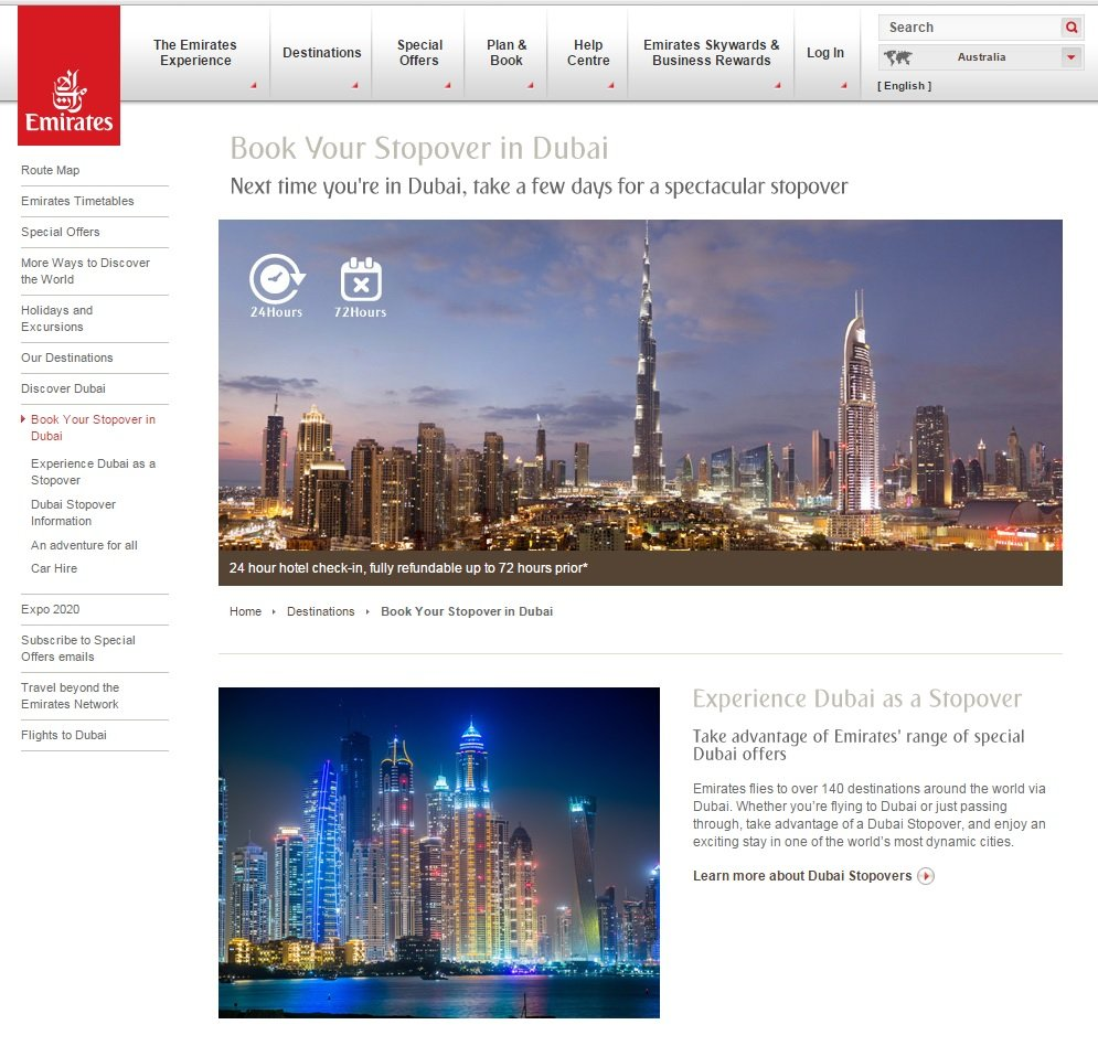 The emirates website with information on transferring in Dubai.