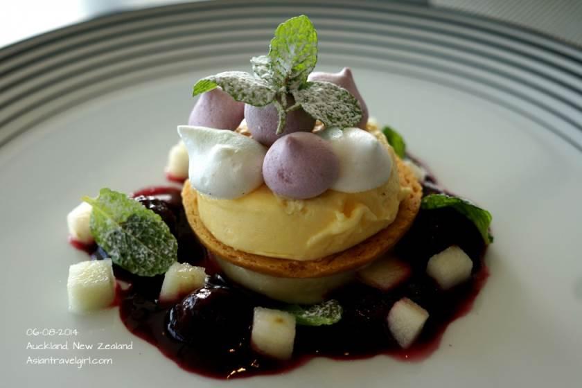 FEIJOA CHEESECAKE- feijoa sorbet, shortbread, meringues, blackberry compote, apple