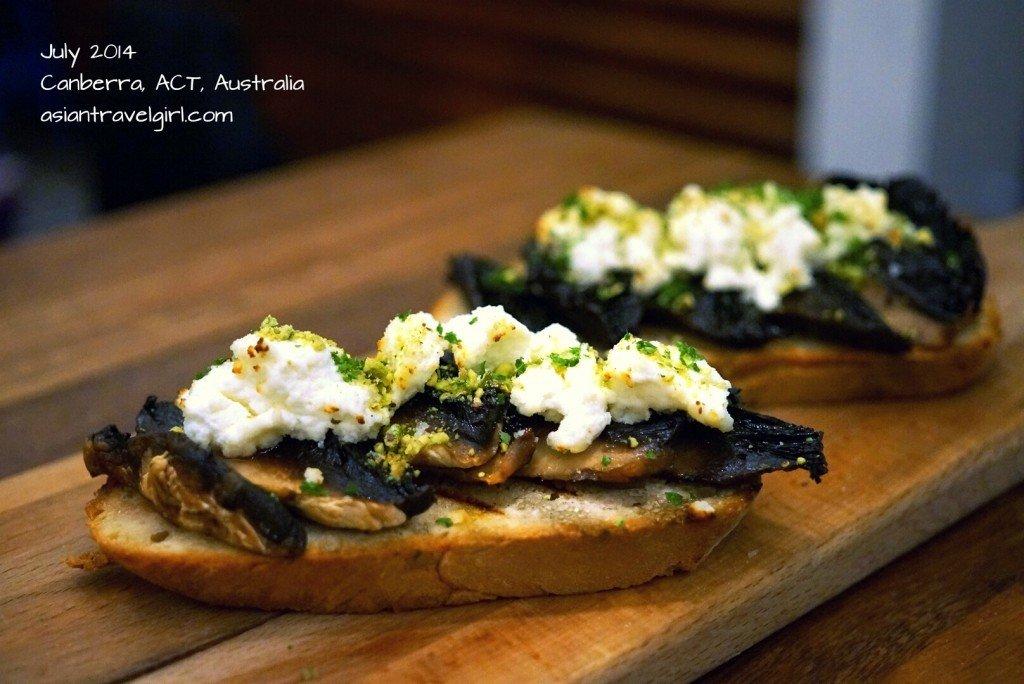 Field mushroom ricotta & crushed pistachio bruschetta