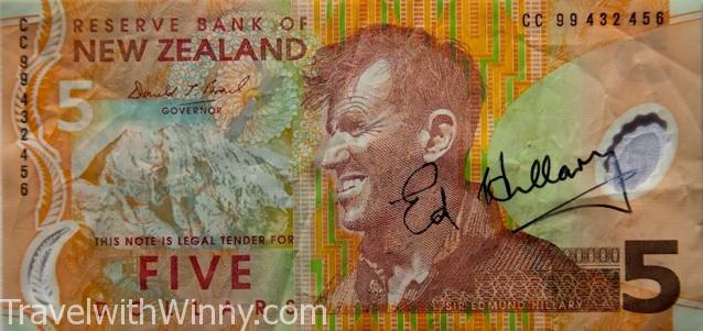 Sir Edmund Hillary new zealand five dollar everest