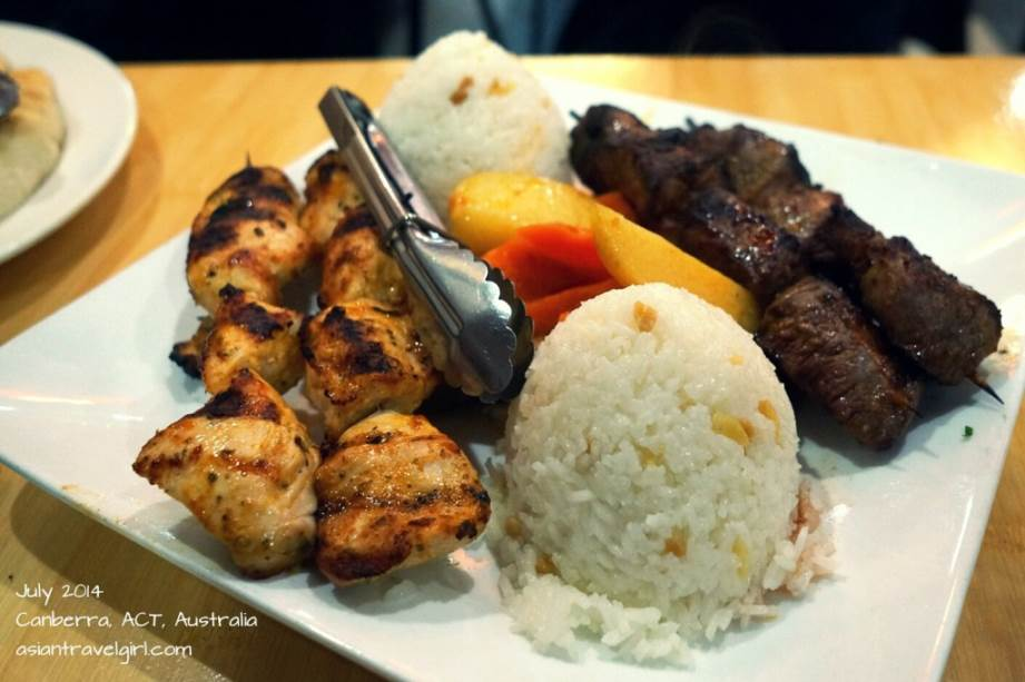lamb skewers, chicken skewers