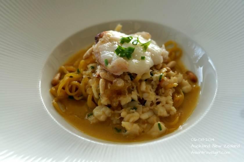 SPINY CRAYFISH AND OTAGO SAFFRON LINGUINE- pinenuts, aged parmigiano reggiano
