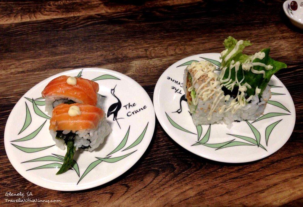 Salmon & Asparagus roll,  Chicken & Avocado roll