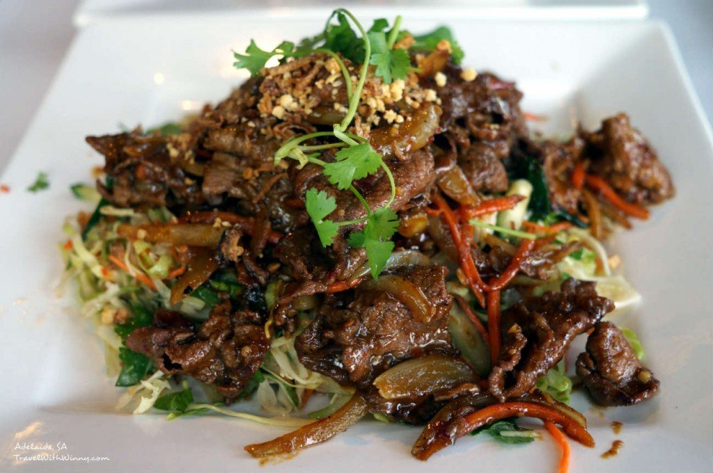Thai Beef Salad- a mixture of carrot, lettuce, cabbage, mint and ...