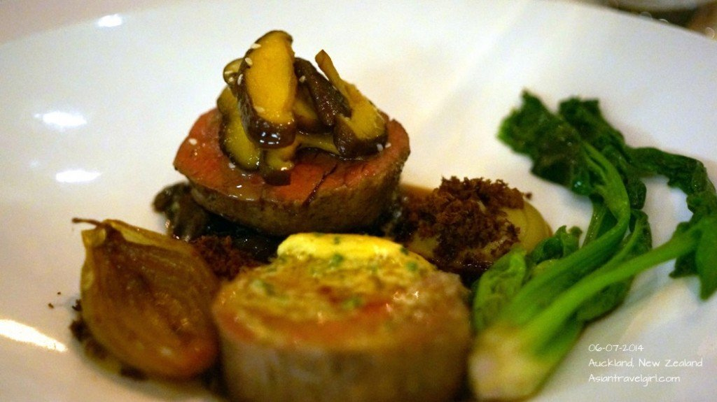 """""""The Main"""" Smoked Beef- fresh wasabi butter, eggplant, coconut ash, shiitake, sweet onions @ The French Cafe"""